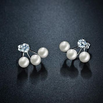 Double Sided Simulated Pearl Stud Earrings