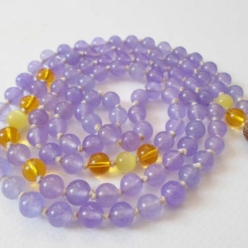 108 Yoga Mala Necklace, Light Purple Gemstone beads 8 mm, Citrine Mala Necklace, Zen Jewelry Mala Beadded Necklace, Meditation Necklace