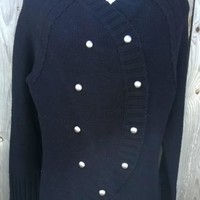 NEWPORT NEWS Women's Large Black DoubleBreasted Cardigan Sweater Military Top L