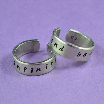 to infinity and beyond - Hand Stamped, Couples, Best Friends, Shiny, Skinny, Pure Aluminum, Handwritten Font, V2