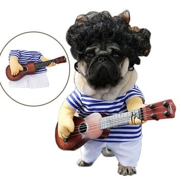 Funny Pet Guitar Player Cosplay Dog Costume Guitarist Dressing Up Party Christmas Halloween Clothes for Dog Cats Plus Wig/Bowtie