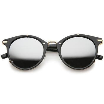 Retro Steampunk P3 Round Horned Rim Mirror Lens Sunglasses A240