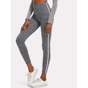 Tape It Up Marled Knit Leggings - Grey