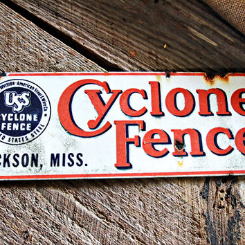 USS Cyclone Fence Porcelain Sign