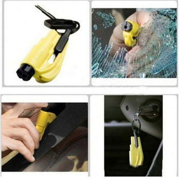Car Window Breaker Emergency Safety Hammer Survival Knife Rescue Multi Tool with Key Chain