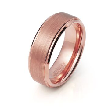 Mens Rose Gold Wedding Band 8mm Tungsten Carbide Brushed Stepped Edges Women Man Engagement Ring Male Anniversary Promise Female His Hers Matching