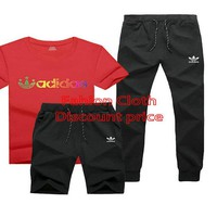 adidas Originals New Style Clothing TREFOIL T-SHIRT Three-Piece Suit Red Black