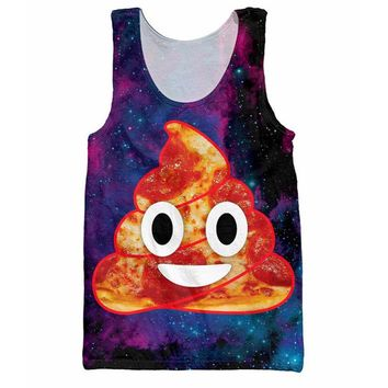 Emoji Poop Tank Tops 3d Print Galaxy Space Graphic Vest Sleeveless Shirt Fashion Men's Clothing