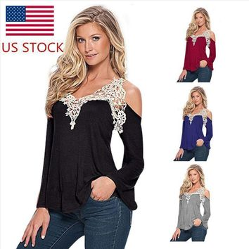 US Women's Lace Casual Cold Shoulder Long Sleeve Tops Blouse Loose Tee Shirt