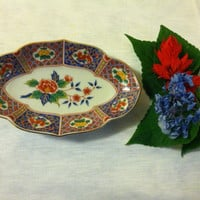 Floral Oval Trinket Dish Vintage Takahashi Flowered Bone Dish Porcelain Blue Red Yellow Green Candy Nut Condiment Ring Serving Plate