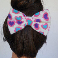 Hearts Bow Pink Hair Bow Clip Fabric Hair Bow Blue Hairbow Pink Fabric Bow White Bows for women Hot Pink Bow Blue Bow Colorful Bow for girls