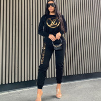 LV Louis Vuitton Women Fashion Long Sleeve Top Pants Two-Piece