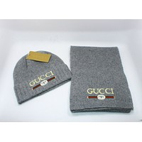"""GUCCI"" Newest Popular Women Men Casual Knit Warm Hat Cap Scarf Two Piece Set Grey"
