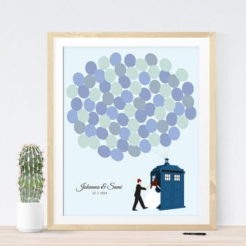 Wedding guest book alternative Dr Who Tardis guestbook print guest sign in board