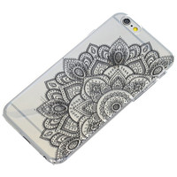 Half Black Mandala Henna On Clear Phone Case iPhone 6, 6 Plus, 6S, 5, 5C, 5S, Galaxy S5, S6, Note 4