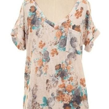 Turquoise Floral Sublimation Pocket Tee