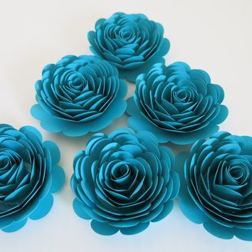 """Dark Teal Roses set of 6 large paper flowers 3"""" rosette floral decorations for wedding bridal shower baby nursery birthday party"""
