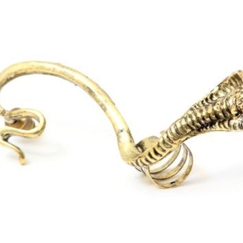 King Cobra Snake Earring Ear Cuff Metal Wrap CA12 Pharaoh Snake Gold Tone Serpent Animal Fashion Jewelry