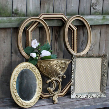 Luxe Hollywood Regency Home Decor Collection of HOMCO Wall Frames and Wall Pocket &Vintage Mirror , Elegant Gold Frames