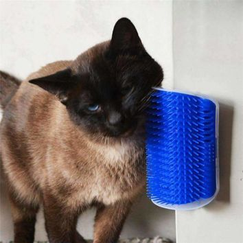 Lovely Pet Cat Self Groomer Wall Corner Massage Comb Cat Kitten Grooming Brush wall corner for Kitty kitten hair brushing