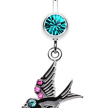 Jeweled Flying Swallow Dangle Belly Button Ring