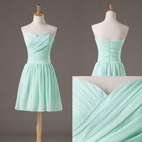Short Bridesmaid Dress with Sweetheart Neckline Chiffon Bridesmaid Dresses Prom Dresses Short Bridesmaids Dresses Chiffon Bridesmaid Dresses