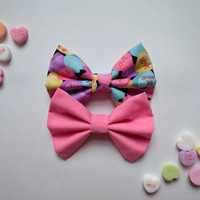 NEW. Valentine's Hair Bow Set in Pink. Limited Edition.