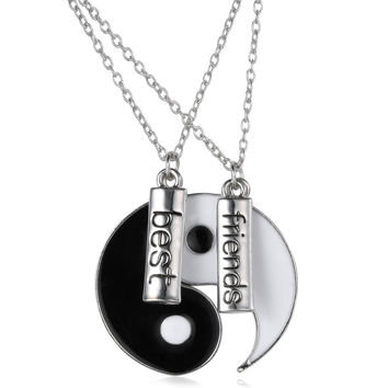 Vintage puzzle Hand Stamped Friendship yin yang puzzle pendant chain Necklace unique personalized for friendship Valentine's Day