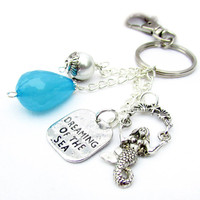 Dreaming of the Sea Keychain, Mermaid Keychain, Ocean Inspired Keyring, Car Accessory, Wave Bead Keychain