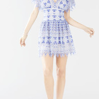 Taran Flutter Sleeve Lace Dress - Blue