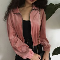 Velvet solid color short zipper casual jacket sold by FE CLOTHING