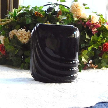 Vintage Black Vase Handblown Glass Art Deco with Tags