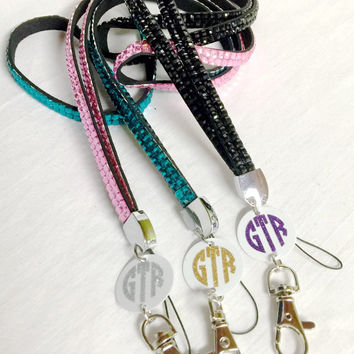 Rhinestone Lanyard Personalized / Monogrammed Lanyard / Bling Lanyard /  Pool Key Lanyard / Key Card Lanyard / Cruise Ship Drink Card Holder