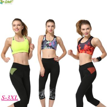 Dry Fit Slimming Sports Running Capris Tights Black Splicing Fitness Gym Workout Cropped Leggings Women's Stretched High Waisted