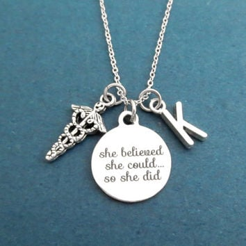 Personalized, Letter, Initial, She believed, she could..., so she did, Medical, Doctor, Nurse, Jewelry, Lovers, Friends, Gift, Jewelry