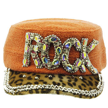 Rock Military Style Faceted Hat Orange