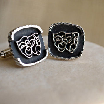 Black and Silver tone comedy and tragedy cuff links and tie bar set // Theater themed Formal wear // Men's suit accessory