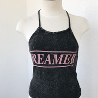 DREAMER HALTER TOP- ACID WASH BLK