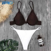 2 Two Piece Bikini BRO  Bikini Set Two Piece Summer 2018 Low Waist Sexy Swimsuit Brown And White Padded Beach Bathing Suit Women Bikinis KO_21_2