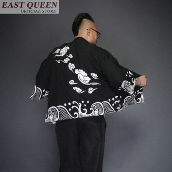 Japanese kimono yukata kimino haori cardigan men kimino robe for men black print japanese tops Haori Japan clothing  FF376 A