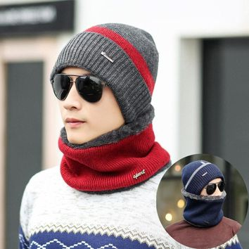 Unisex Knitted Full Face Coverage Fleece Lined Beanie and Scarf