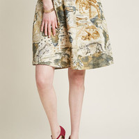 Lively Vibe Cotton A-Line Skirt in Dino Map