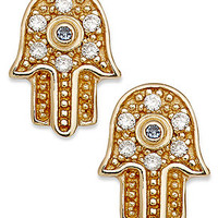 Studio Silver 18k Gold over Sterling Silver Earrings, Cubic Zirconia Accent Hamsa Stud Earrings