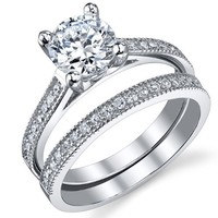 1.25 Carat Round Brilliant CZ Sterling Silver 925 Wedding Engagement Ring Band Set Sizes 5 to 9 | AihaZone Store