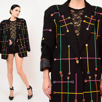 80s Black Embellished Artsy Rainbow Jewel Studded 1980s Oversize Boyfriend Blazer Jacket Small Medium S M
