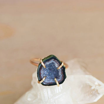 Tabasco Geode Raw Stone Ring. 14k Gold Fill Rock Ring. Anniversary Gift Her. Druzy Stone. Natural Blue Stone Jewelry. Druzy Stone