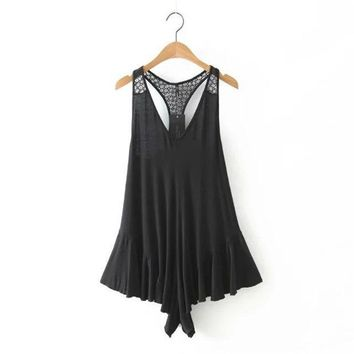 PEAPIX3 Summer Women's Fashion Sexy See Through Lace Mosaic Backless Jumpsuit [4918828676]