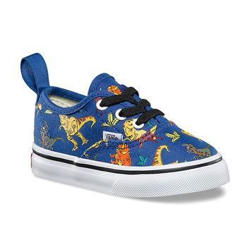 Vans Toddler Authentic Elastic Lace (Q6H) (Dinosaur) Multi/True White VN0A38E8Q6H Shoes