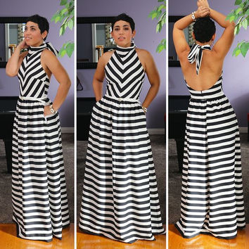 Black and White Stripe Halterneck Cutout Back Maxi Dress