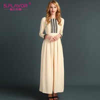 Russian style dress Autumn Newest sold color long dress with lace good quality women elegant Casual